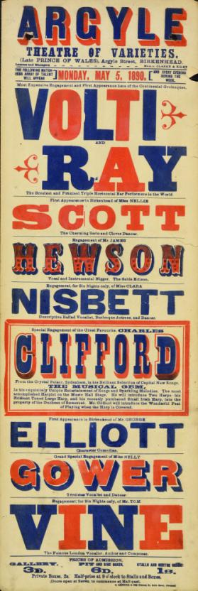Playbill for Argyle Theatre, Birkenhead. 1890