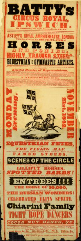 Playbill for Batty's Circus Royal, Ipswich. November 21, 1842