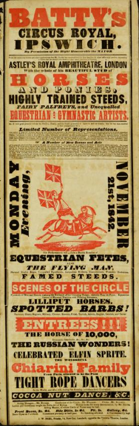 Playbill for Batty's Circus Royal, Ipswich.