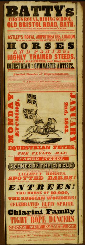 Playbill for Batty's Circus Royal, Bath. January 2, 1843