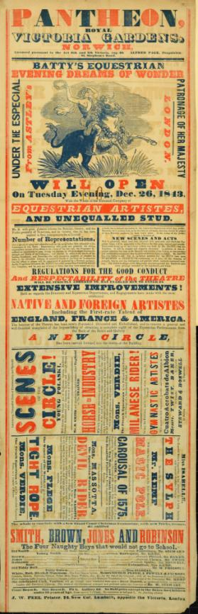 Playbill for Pantheon, Royal Victoria Gardens, Norwich. December 26, 1843