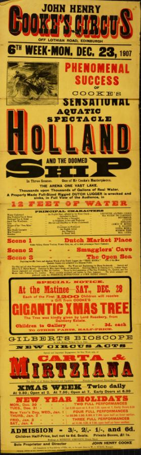 Playbill for Cooke's Circus. December 23 1907