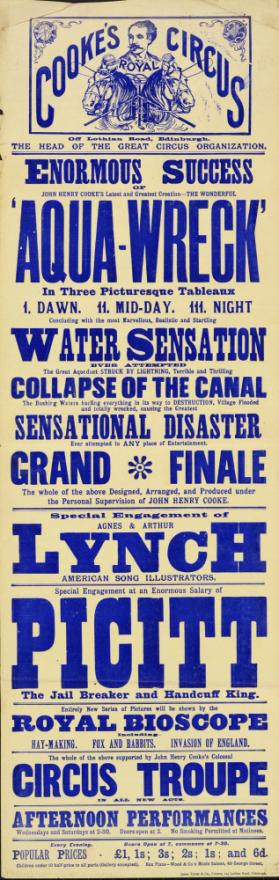 Playbill for Cooke's Circus. 1910