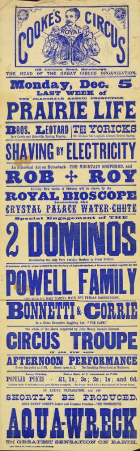 Playbill for Cooke's Circus. December 5, 1910