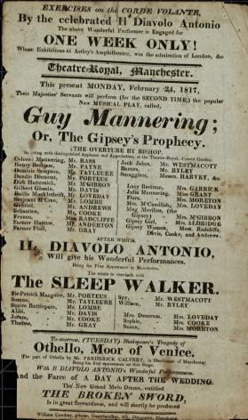 Handbill for Theatre Royal, Manchester. February, 1817