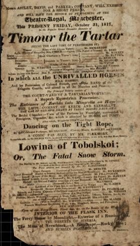 Handbill for Theatre Royal, Manchester. October, 1817