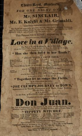 Handbill for Theatre Royal, Manchester. August, 1818
