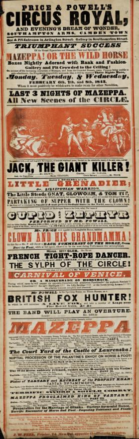 Playbill for Price & Powell's CIrcus Royal. February 6, 1843
