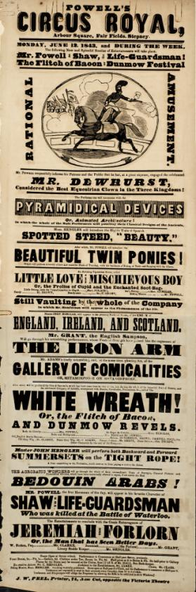 Playbill for Powell's Circus Royal. June 12, 1843