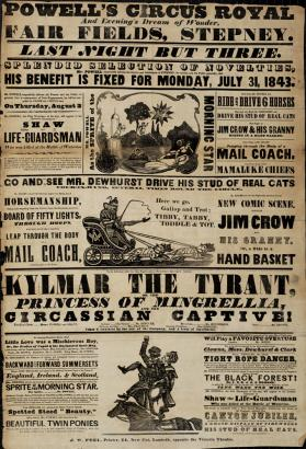 Playbill for Prince & Powell's Circus Royal.  July 31, 1843