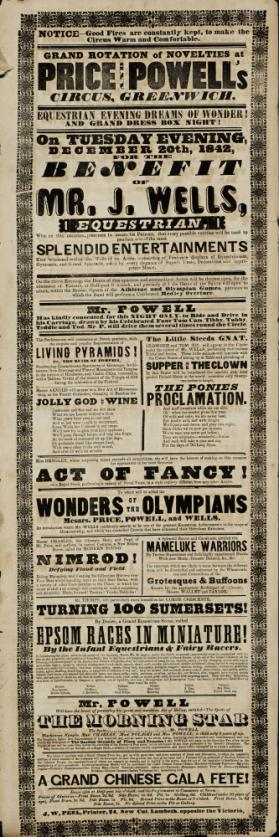 Playbill for Price & Powell's Circus, Greenwich. December 20, 1842