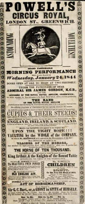 Handbill for Powell's Circus Royal, Greenwich. January 24, 1844