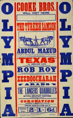 Playbill for Cooke's Circus. Fall 1911