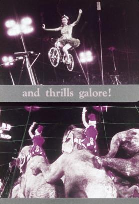 Color Slide of FILM GSOE Still - tightrope bike and elephants (sepia)