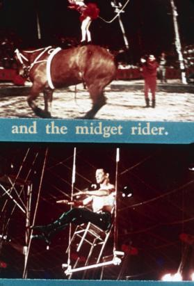 FILM GSOE Still - midget rider and trapeze king (color)