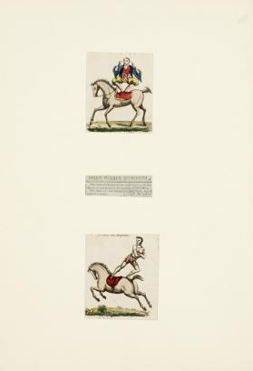 2 Prints and a Newspaper clipping showing equestrian acts