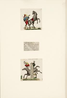 2 Prints and Newspaper clipping showing equestrian acts