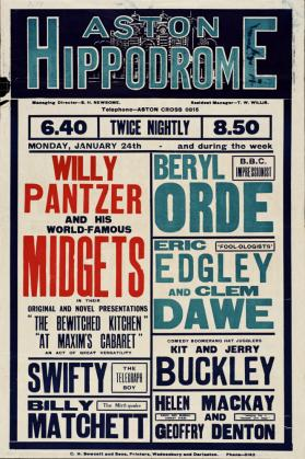 Playbill for Aston Hippodrome, Birmingham. January 24, 1938