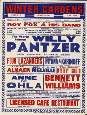 Playbill for Morecambe Winter Gardens Theatre, Morecambe. July 4, 1937