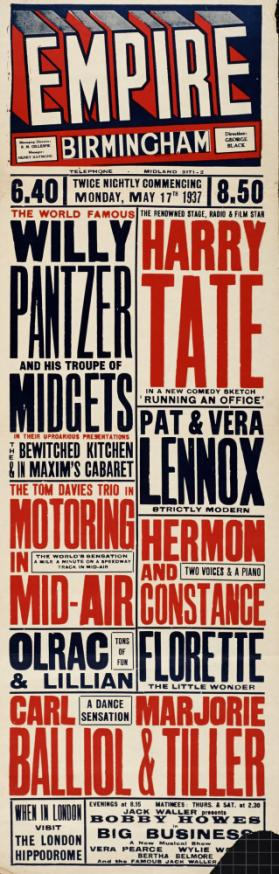 Playbill for Empire Theatre, Birmingham. May 17, 1937