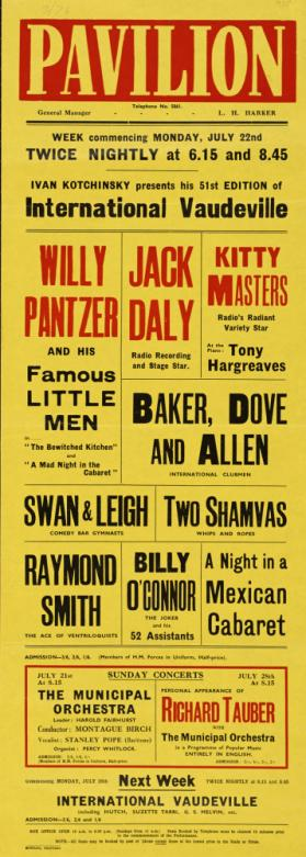 Playbill for Pavilion Theatre, Bournemouth. July 22, 1935