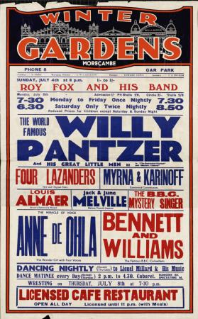 Playbill for Morecambe Winter Gardens Theatre, Morecambe. July 04, 1937