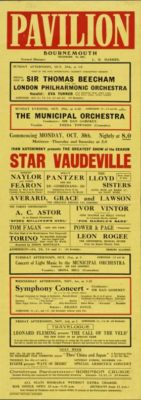Playbill for Pivilion Theatre, Bournemouth. October 30, 1933