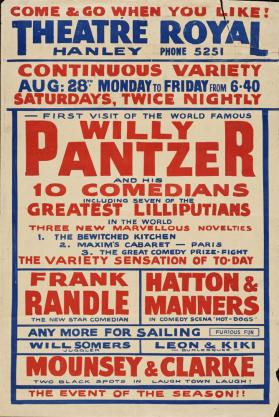 Playbill for Theatre Royal, Hanley. June 28, 1933