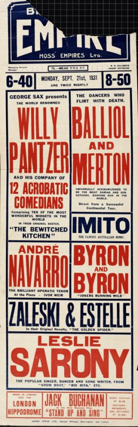 Playbill for Birmingham Empire, Birmingham. September 21, 1931